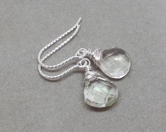 Amethyst earrings/green amethyst earrings/sterling silver earrings/wire wrapped earrings/gemstone earrings/earrings for women.