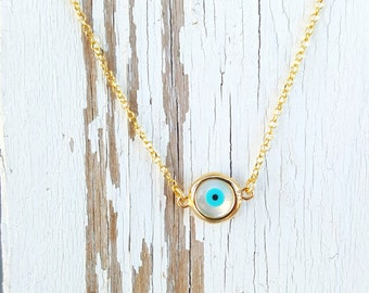 Evil Eye Dainty Necklace, Simple and chic evil eye, Good luck choker gold everyday necklace, Protection Necklace, Minimalist  jewelry.