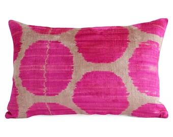 SALE! Handwoven ikat, pink velvet pillow, throw pillow, pillow cover, velvet ikat pillow, neon pink pillow, pink cushion, ikat pillows