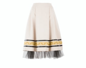 ANCA skirt - off white skirt with vintage embroidery, leather stripe and tulle, folk inspired skirt (S-XXL)