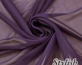 Eggplant Chiffon Matte Jersey Stretch Chiffon Fabric, Drape Chiffon Jersey Fabric, Light Jersey Chiffon Fabrics, Stretch Chiffon - Style 452