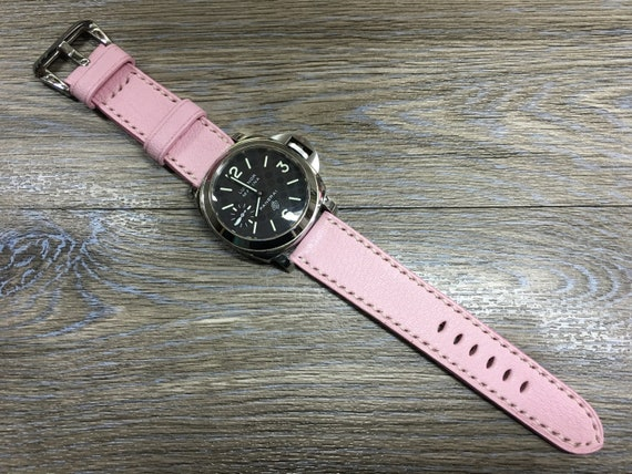 Leather watch band, leather watch strap, 24mm watch strap, Pink watch band, 24mm watch band, 26mm strap, watch band, FREE SHIPPING