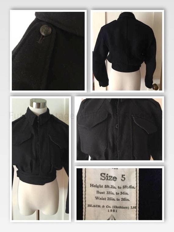 1951 Womens Black & Co CD Dark Navy Blue Wool Military High Waist Fitted Shirt Jacket-XS S