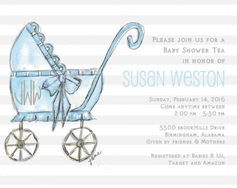Baby carriage custom personalized invitation baby showerblue carriage baby  boy shower  invitation