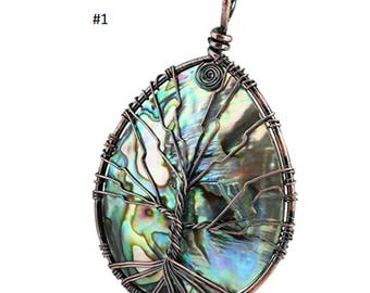 Ablone Shell Tree of Life Pendant Necklace. Copper Wire Wrapped Jewelry. Assorted Shaped.