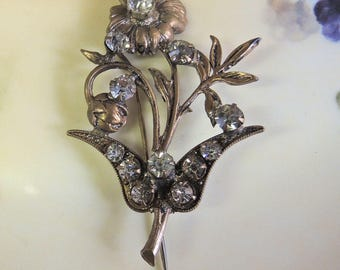 Victorian Floral Stick Pin, Gold Plated Vintage Costume Jewelry - REDuCed