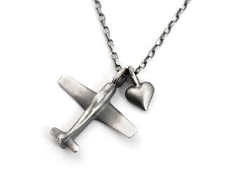 Airplane and Heart Charm Necklace Sterling Silver for Women – Great Flight Attendant Gifts