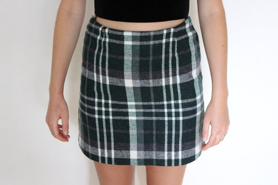 90's Clueless Wool Tartan Lined Mini Skirt Vintage Vtg Aus 6 by Etsy