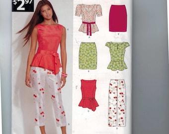 Misses Sewing Pattern New Look A6130 6130 Separates Capri Pants Pencil Skirt Peplum Top Size 8 10 12 14 16 18 Bust 34 36 38 40 42 44 UN 99