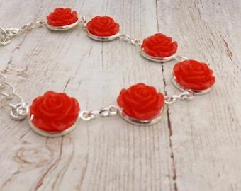 Red Roses Silver Bracelet