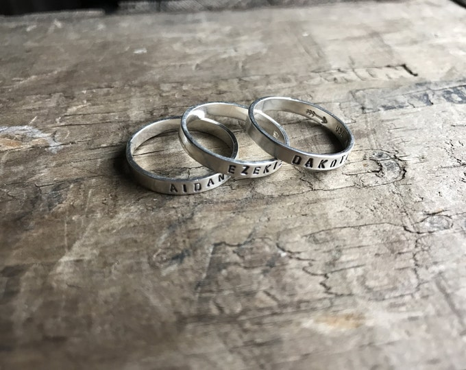 3 Mom Rings Personalized Mom Rings Womens Sterling Silver Childrens Names Ring Stacking Skinny Rings Kids Names