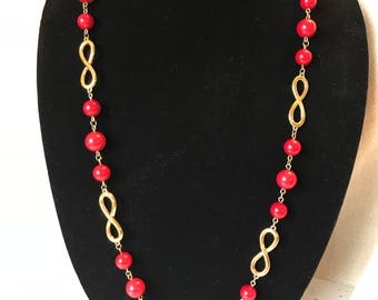 """Fantastic Napier Infinity Red and Gold Lucite Necklace, 29"""" Long"""