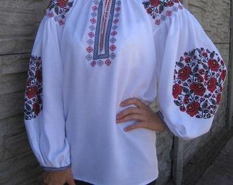 "White blouse vyshyvanka ""Ruta"" of 100% viscose Boho Style"