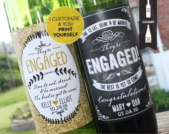 PRINTABLE // Engagement Wine Label // Newly Engaged Couple Gift // Congratulations // Chalkboard or Sparkle // Engagement Party Favors