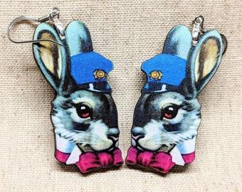 Bunny Earrings / Police Rabbit Earrings / Easter Earrings / Easter Bunny / Vintage Bunny Cop / Rabbit Jewelry / Bunny Jewelry / Cop Jewelry