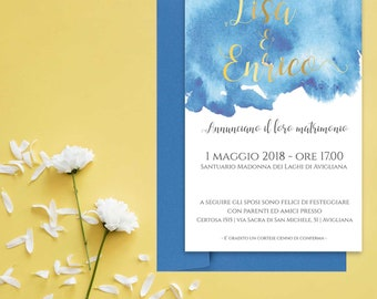 invitation, Wedding participation-full wedding Suite-Cloud (starting from 2.39 euros per piece)-With metallized finish