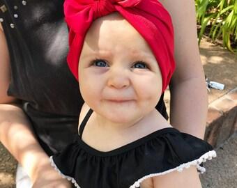 SWIM Classic Red : baby swim hat, baby swim turban, baby sun hat, newborn sun hat, infant swim hat, baby upf hat,
