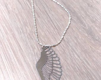 Silver necklace and pendant with angel wing