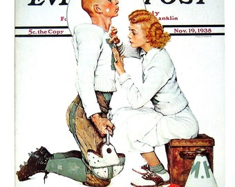 The Letterman, The Locker Room - Norman Rockwell - Saturday Evening Post Cover - 2 Sided 1989 Vintage Book Page - 10 x 12