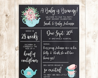 A Baby Is Brewing Poster, Baby is Brewin' Poster, Baby Shower, Sprinkle, Baby Shower Decor, Shower Chalkboard, Tea Party Theme, DIGITAL FILE