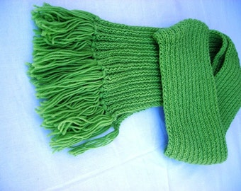 Green Long Scarf, Wool Scarf, Hand Knit Scarf Fringes, Autumn Winter Fashion, Christmas Gift