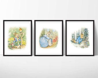 Peter Rabbit Nursery Art, Beatrix Potter Nursery Decor, Peter Rabbit Decor, Nursery Wall Art, Boy or Girl Art, Set of 3, Instant Download
