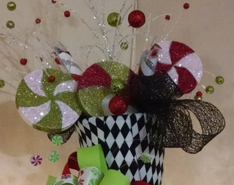 Extra Large Christmas Tree Topper - Whimsical Peppermint  Top Hat Tree Topper - Tree Topper Bow - Tree Topper - Top Hat -