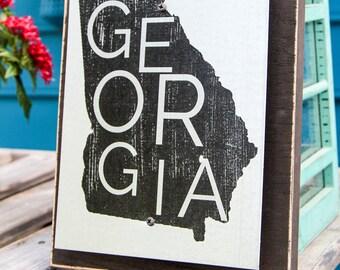 Georgia State Graphic Handmade Metal Wall Art