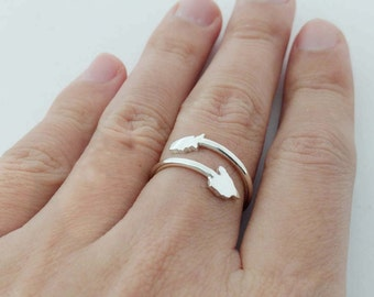 Silver Any States Ring,Personalized Two States Ring,Silver Country Rings,Long Distance Ring,Double State Ring,Best Friend Long Distance Gift