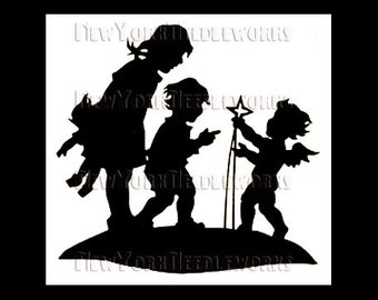 Boy and Girl With Angel Cross Stitch, Christmas Cross Stitch, Angel Cross Stitch, Children Cross Stitch, Cross Stitch, Silhouettes, Kids