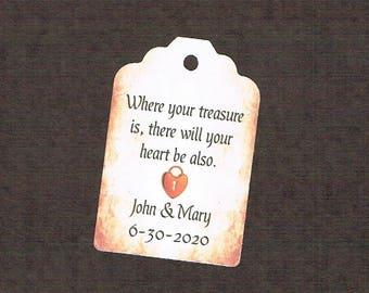 Wedding Tags, Set of 50, Treasure Tag, Printed Tags, Wedding Shower Tags, Tags, Wedding Favor, Thank You Tag