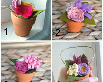Wedding Favors - Bulk Felt Flower Bouquets in Tiny Clay Pots - Sets of 10 - Felt Flower Shower Gifts - With or Without Twine Hanger