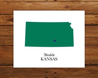Kansas State Love Map Silhouette 8x10 Print - Customized