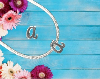 Lowercase 'a' Sterling Silver Charm Necklace With Gift Box