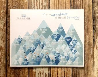 14ers Colorado Print, Co14ers gifts, Colorado Peaks, CO Rockies High Peaks, Push Pin Board, High peaks of Colorado, Peak bagging board