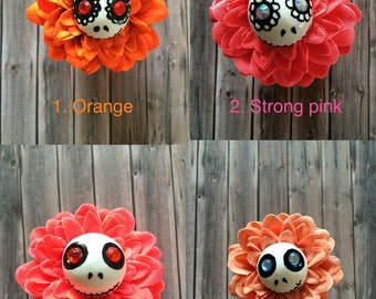 Hair clips skull - Hair jewelry - Jack skeletron- Flowers - Hairstyle