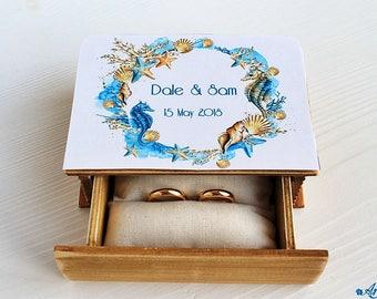Rustic Wedding Box, Wedding Ring Box, Engraved Ring Bearer Box, Proposal Box Wedding Holder Personalized Ring Box Еngagement Box Sea wedding