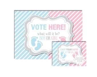 Baby Footprint Gender Reveal Voting Cards-Pink & Blue Voting Ticket-Baby Footprint Voting Tickets-INSTANT DOWNLOAD