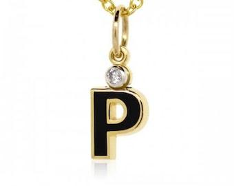 "French Enamel Letter ""P"" 18K Yellow Gold Charm"