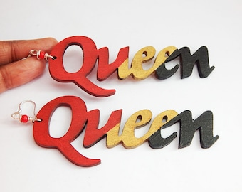 Queen Earrings Wood Hand painted Queens Jewelry Afrocentric African Red Queen Black Wooden Jewellery Handmade Ethnic Earrings Woman