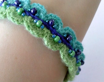 Beautiful Beaded Crochet Bangle - Scalloped bracelet in blues and greens