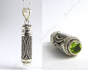 "Green Peridot Bali Sterling Silver Tube Treasure Container Locket Pendant 20"" Chain Necklace JD115"