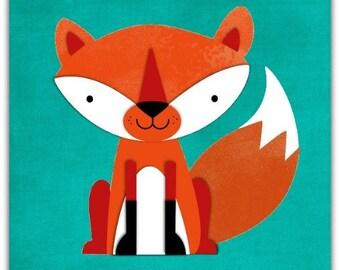 Double 'little Fox' original design handmade 15cm x 15cm