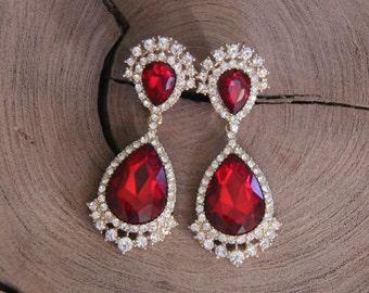 red clip on rhinestone earrings,  large crystal rhinestone clip on earrings, pageant/prom clip earrings, bridal clip on earrings