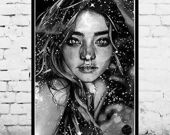 Art Print 'Child of the Cosmos' Moon and Stars Hand-drawn Pencil Artwork (Unique Paint Detailing)