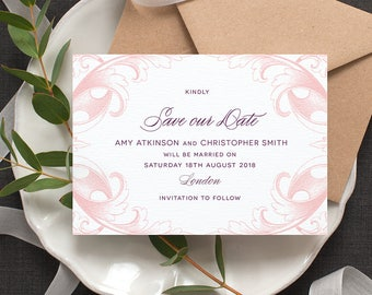 Beautiful Save the Date Card / 'Country Manor' Calligraphy Wedding Card / Engagement / Peony Pink Deep Plum / Custom Colours / ONE SAMPLE