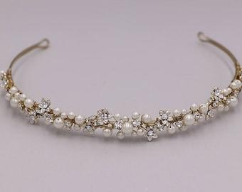 Gold Wedding Headband, Gold Bridal tiara headpiece, wedding headpiece, pearl headband, gold wedding headband, Alondra Gold Pearl Headband
