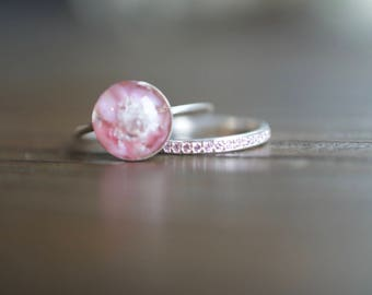 925 Silver Pink Glass Pet Cremation Memorial Ring
