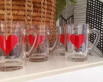 Set of 6/ hot beverage/ mulled wine /coffee /tea/glasses/pressed/french /France/cups/mugs