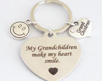 "My Grandchildren make my heart smile"", key ring."
